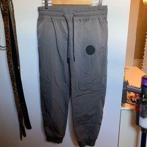 Nike Gray Cropped Nylon Joggers Medium